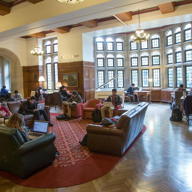 Students study in the Indiana Memorial Union.